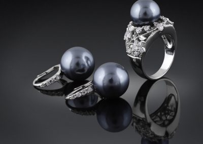 jewelry with black pearl and diamond ring (206)