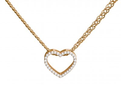 Golden heart on chain pendant (206)