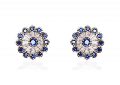 Brincos com zirconia e safira azul earring (206)