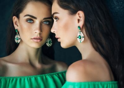 Beautiful woman wearing cocktail dress earring (206)