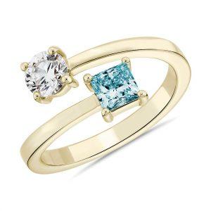 實驗室培育藍色公主方形鑽石與圓鑽交錯環繞戒指
