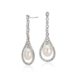 復古風格淡水養珠與白色托帕石吊墜耳環