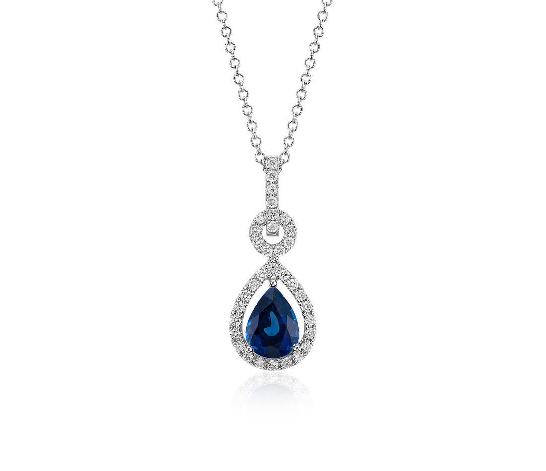 梨形懸浮藍寶石鑽石吊墜