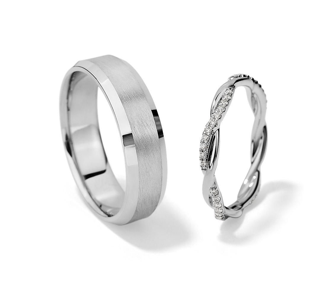 鉑金小巧扭轉鑽石永恆戒指與磨光鋼砂內圈卜身設計戒指對戒
