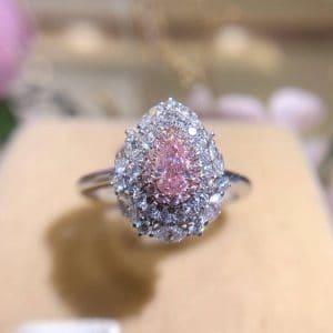 粉鑽18K白金戒指