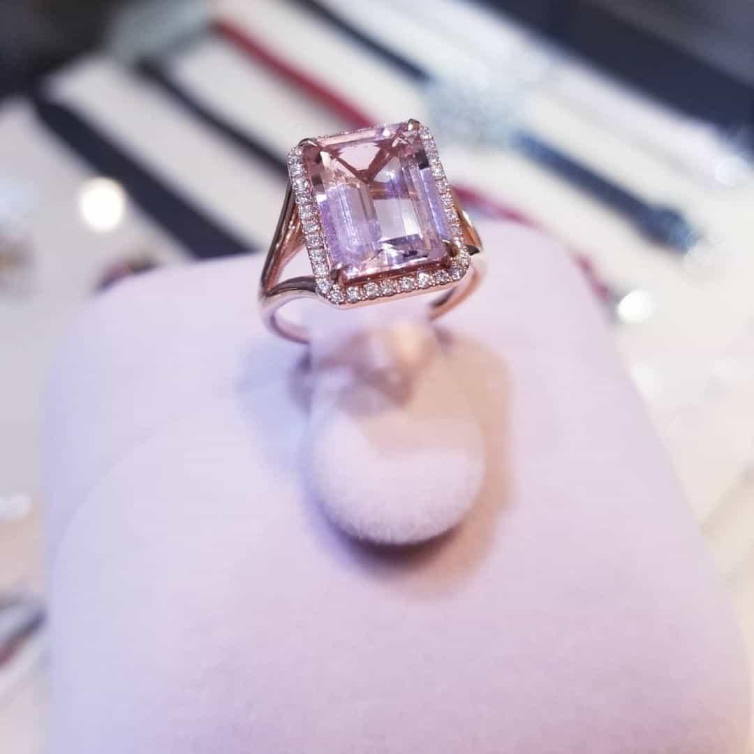 粉紅摩根石18K玫瑰金戒指