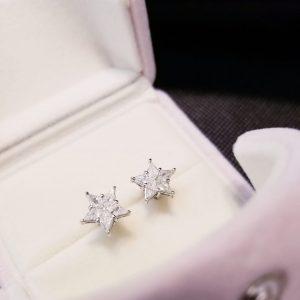 星形鑽石18K白金耳環