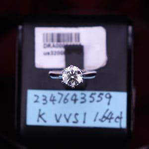 GIA證書產品 K色 , VVS1淨度 , 1.64卡