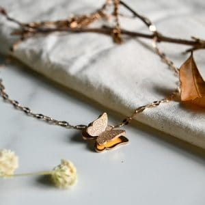 果香 玫瑰金顏色蝴蝶頸鏈 套裝(不銹鋼)