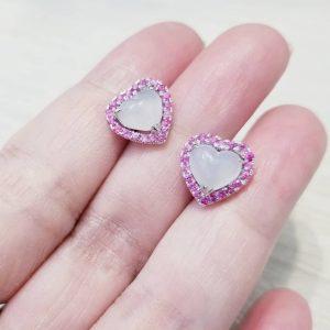 冰種心形翡翠粉紅藍寶石耳環