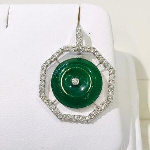 圓形玉鑽石吊墜